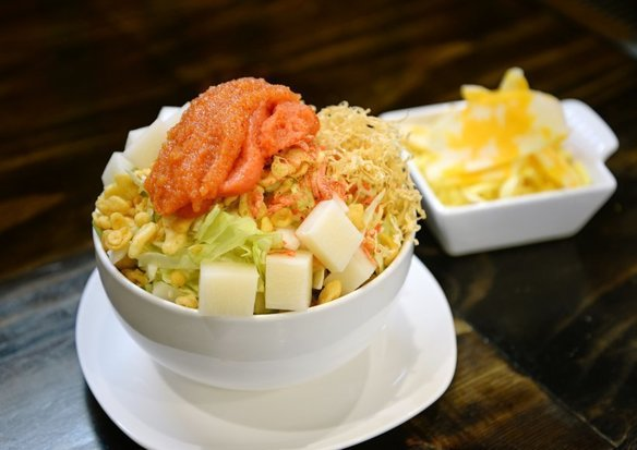 Monjayaki with Spicy cod roe,Sticky Rice Cake and Cheese