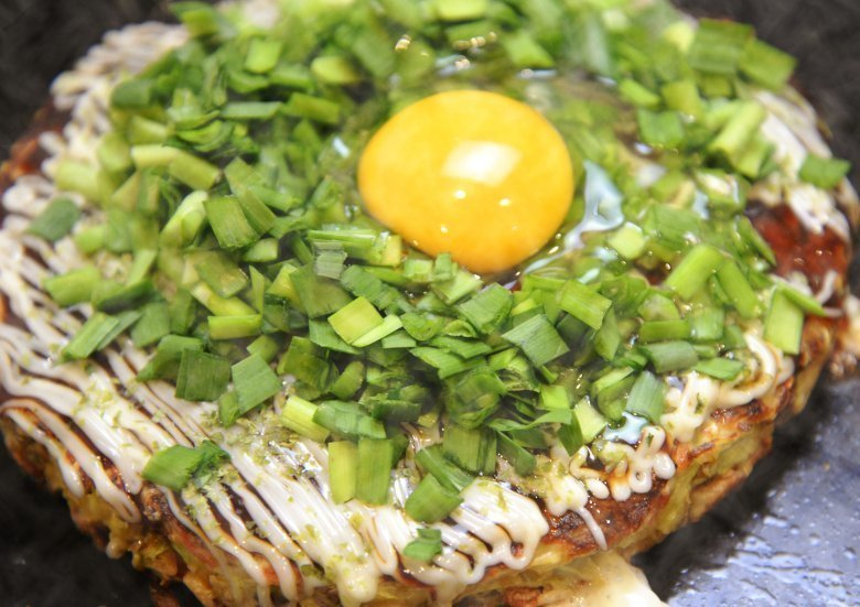 Okonomiyakiwith Stir-fried Egg with Garlic Chives