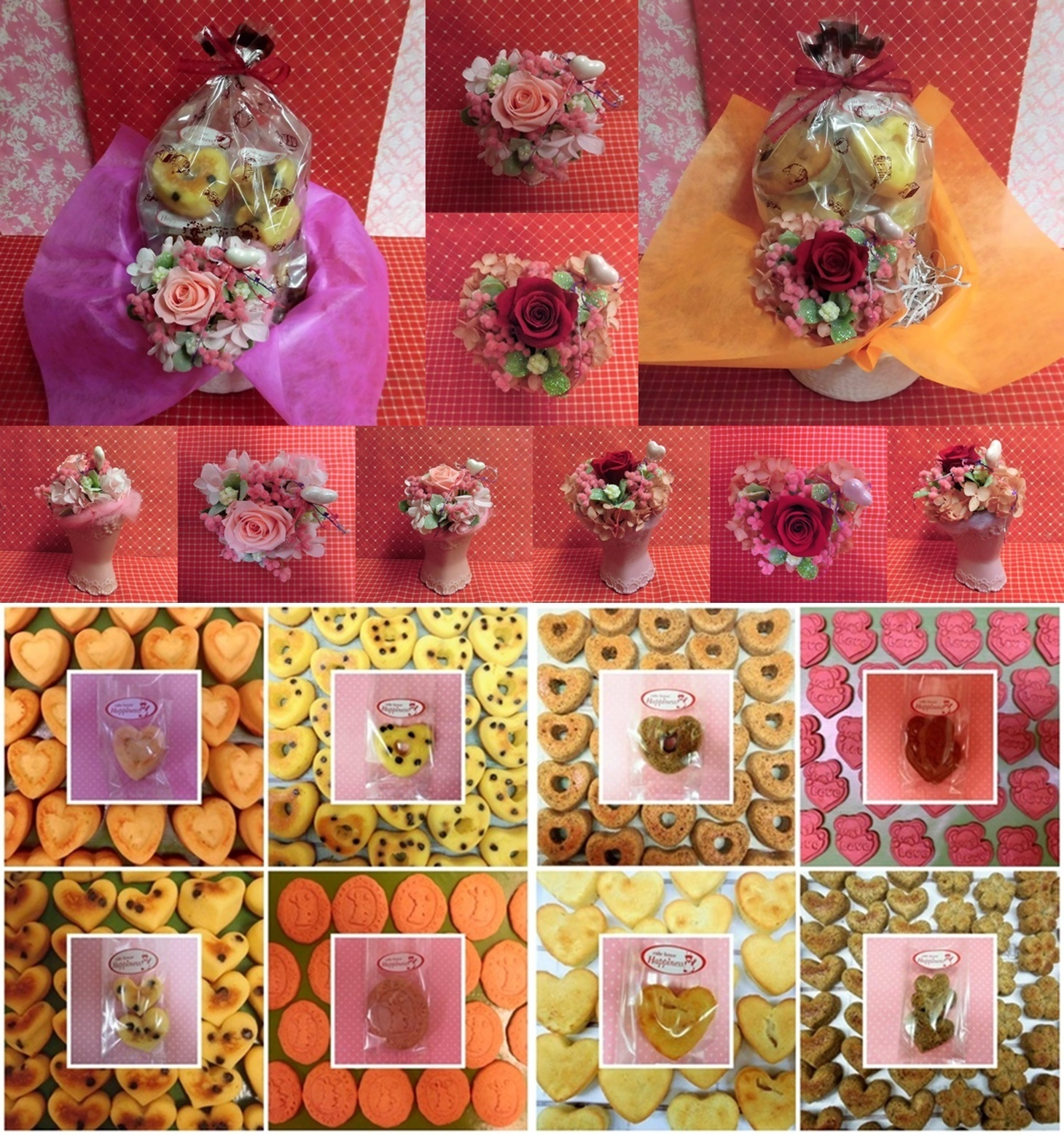 エレガントなハートの陶器にアレンジした薔薇のプリザーブドフラワーとハートの焼き菓子のギフトセット販売中です