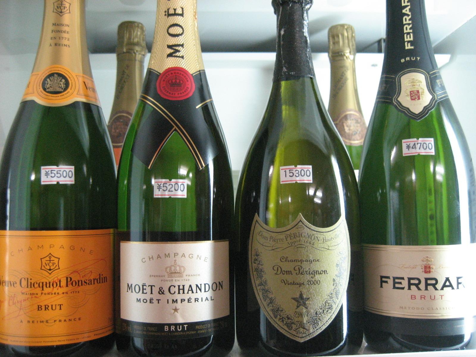 シャンパン、ワインボトル(ハーフサイズもあります)