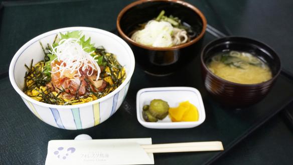 [春の山菜ランチフェア]春の鉄火丼と山菜入り百宅蕎麦セット(入浴込)