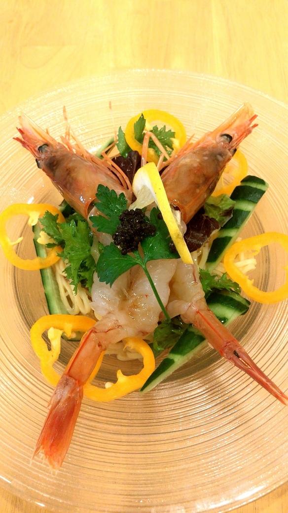 旬野菜たっぷりアルゼンチン赤海老の和風冷製生パスタ