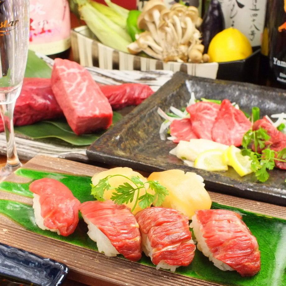 2時間飲み放題付★SNSで話題の肉の寿司全8品コース(税抜)(4000円(税抜))