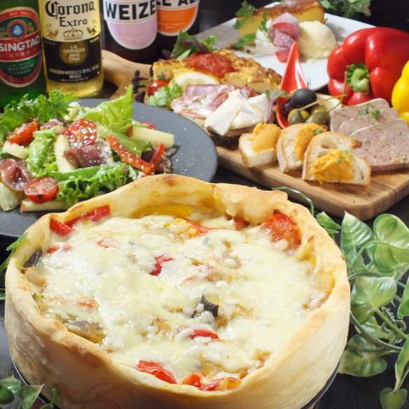 【昼得ランチ】とろ~りチーズのシカゴPIZZAを堪能♪1980円(税抜)