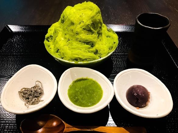 糀甘酒と豆乳抹茶のかき氷セット