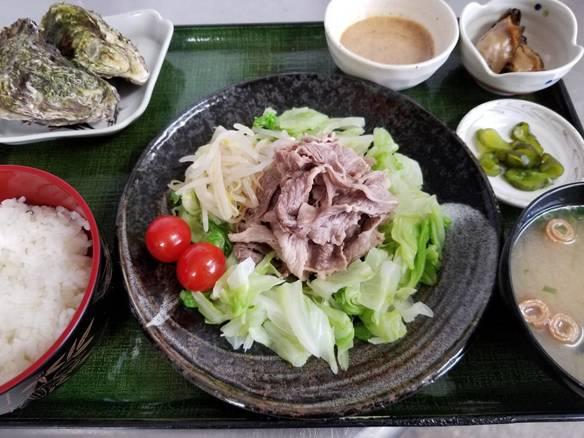 広島和牛 冷しゃぶ定食<1日5食限定>          (冷製ボイル牡蠣2個付き)