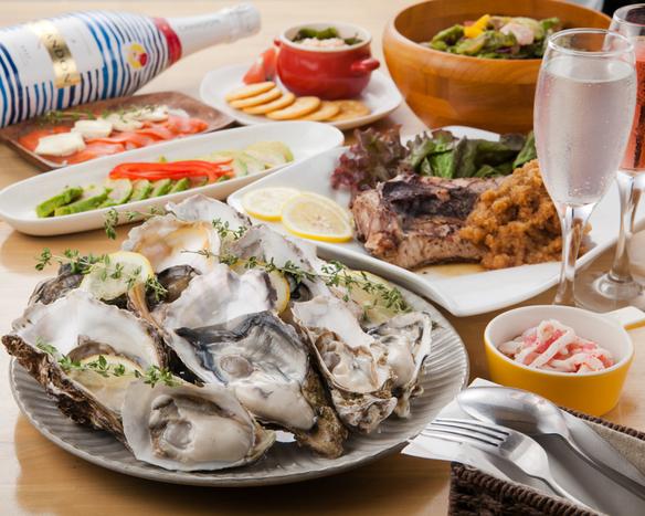 【牡蠣付ランチコース】選べるメイン・牡蠣料理など充実ランチ全7品!