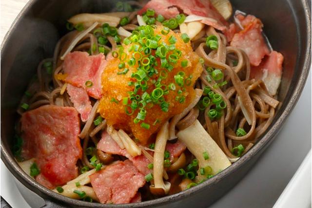 日本蕎麦のペペロンチーノ