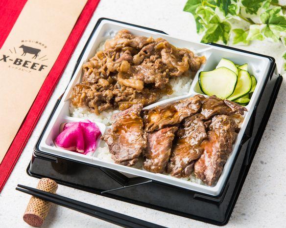 【2種盛り】肉厚ハラミ&たっぷり牛バラすき焼き弁当