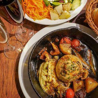『平日限定』牛ホホ肉の赤ワイン煮込み・お魚料理・お肉料理が楽しめるボリューム満点コース(料理のみ)