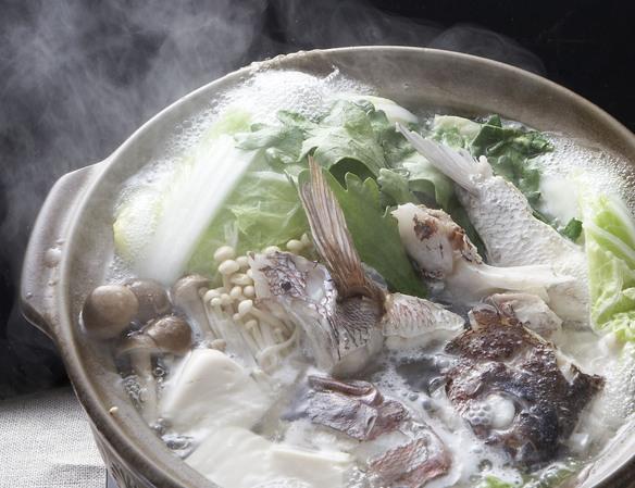 【鯛ちりコース】付出し、お造り盛り合せ、鯛ちり鍋、ぞうすい、