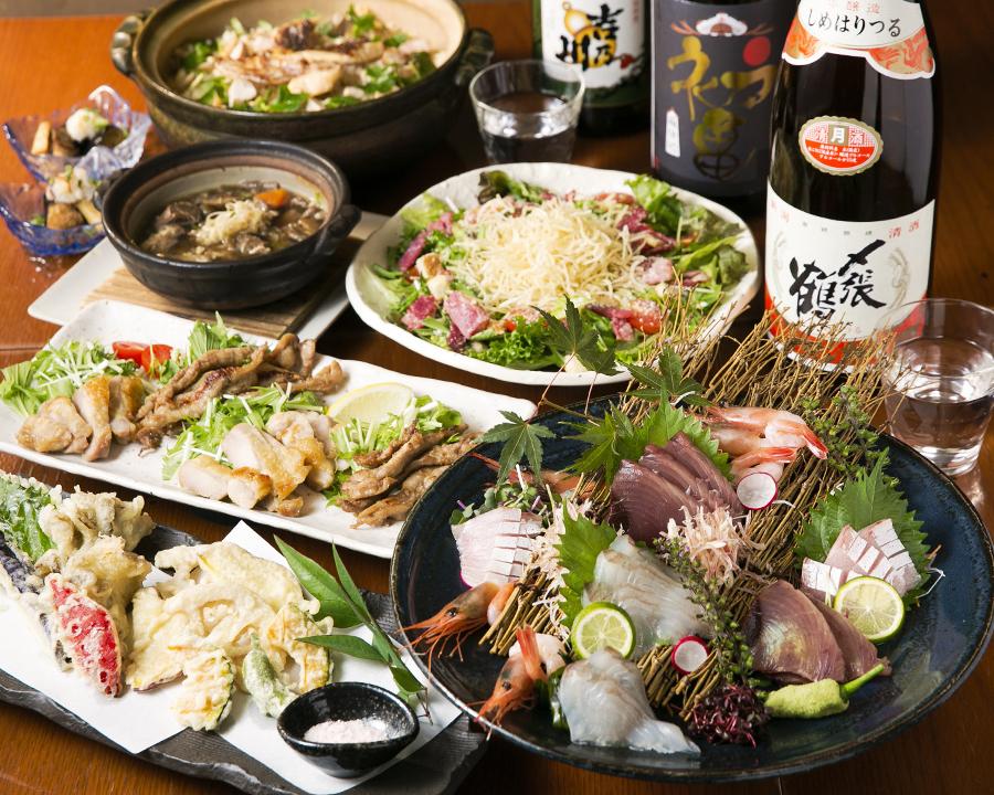 【3H飲み放題付き】和牛ステーキと鮮魚のしゃぶしゃぶコース<10品>