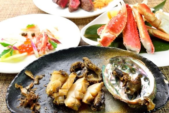 【和縁北海道フェア】羅臼直送の蟹 蝦夷鮑 熟成国産牛の鉄板焼!しめは特製蟹みそ入ガーリックライス!
