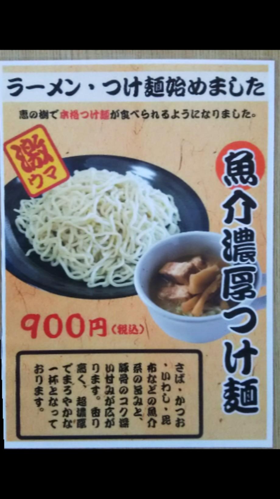 魚介濃厚つけ麺(900円)