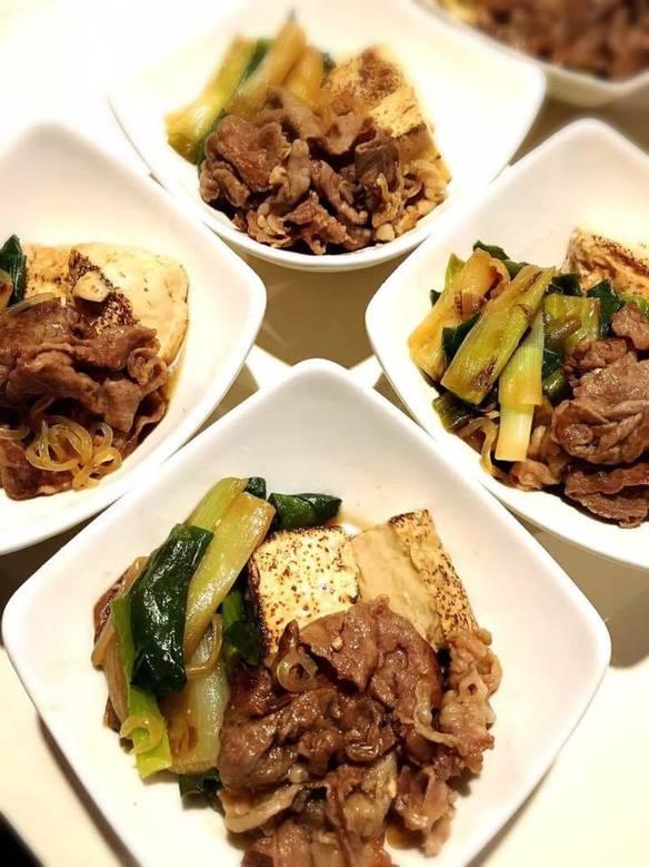牛肉と豆腐とネギのすき焼きふう