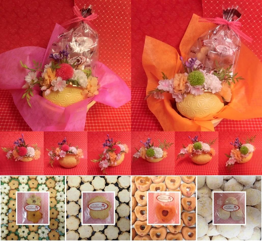 がまぐち型陶器にピンポンマムのプリザーブドフラワーをメインに桜の花をあしらったアレンジと桜の焼き菓子のセット販売中です♪(^◇^)