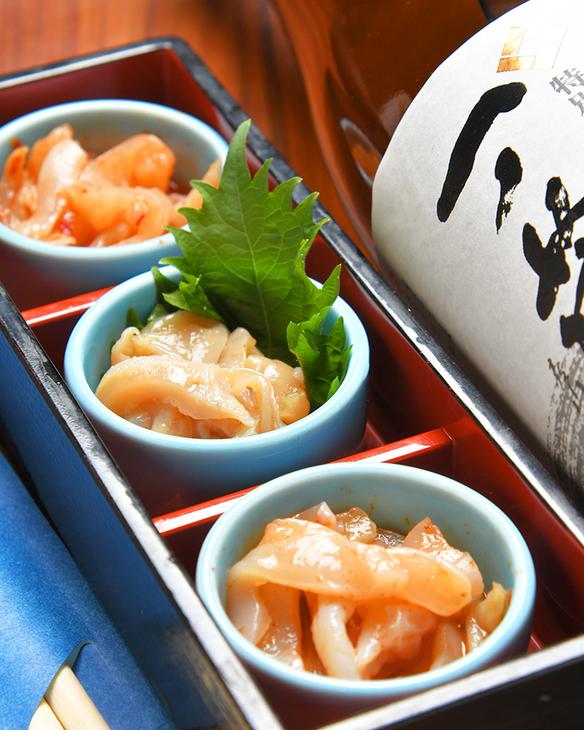 【北海道直送】北海の幸、つぶ貝の三味盛り