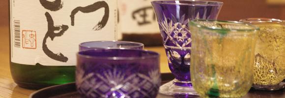 お酒は、ガラスの酒器でどうぞ。 季節ごとに食事に合う日本酒をご用意