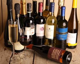 充実のワインは赤白泡、常時10種以上
