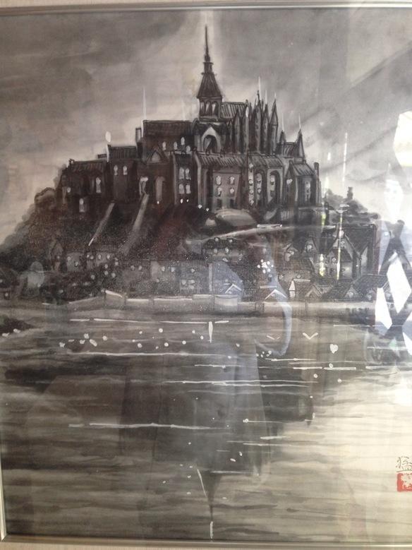 モンサンミシェルの水墨画