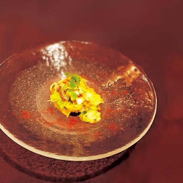 米茄子のセモリナフリット 魚介のセビーチェ